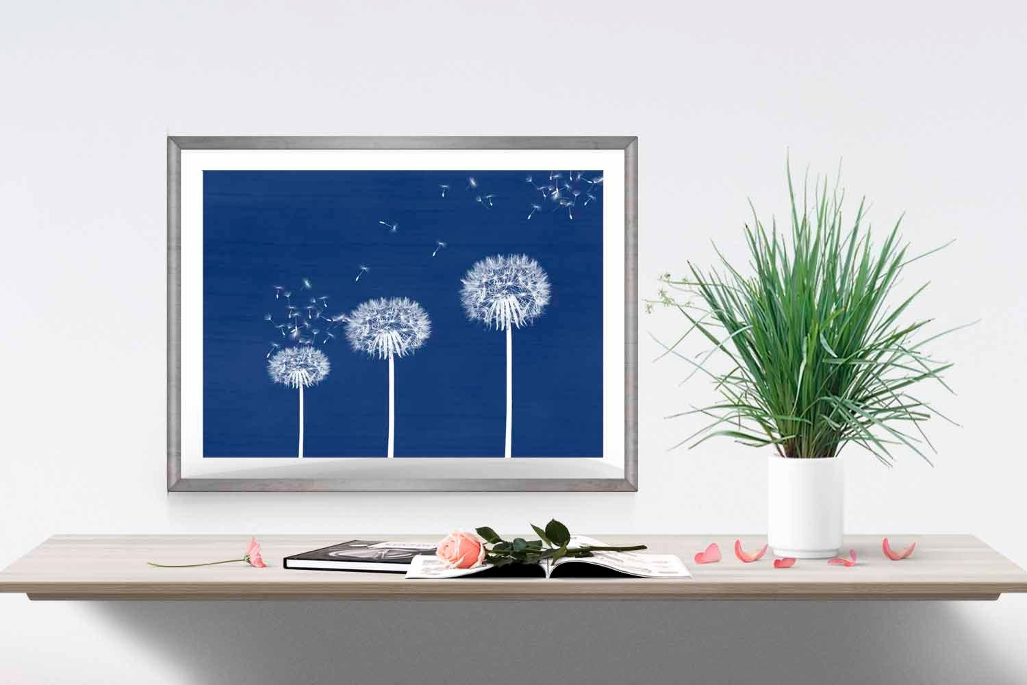 Blue Dandelion Print Navy Home Decor Dandelion Wall Art Flower Intended For Dark Blue Wall Art (View 7 of 20)