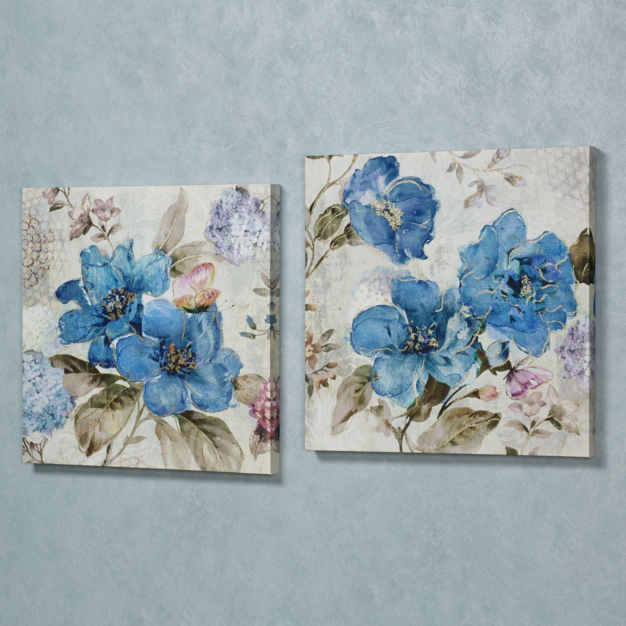 Blue Floral Delight Canvas Wall Art Set Throughout Blue And White Wall Art (Image 5 of 20)