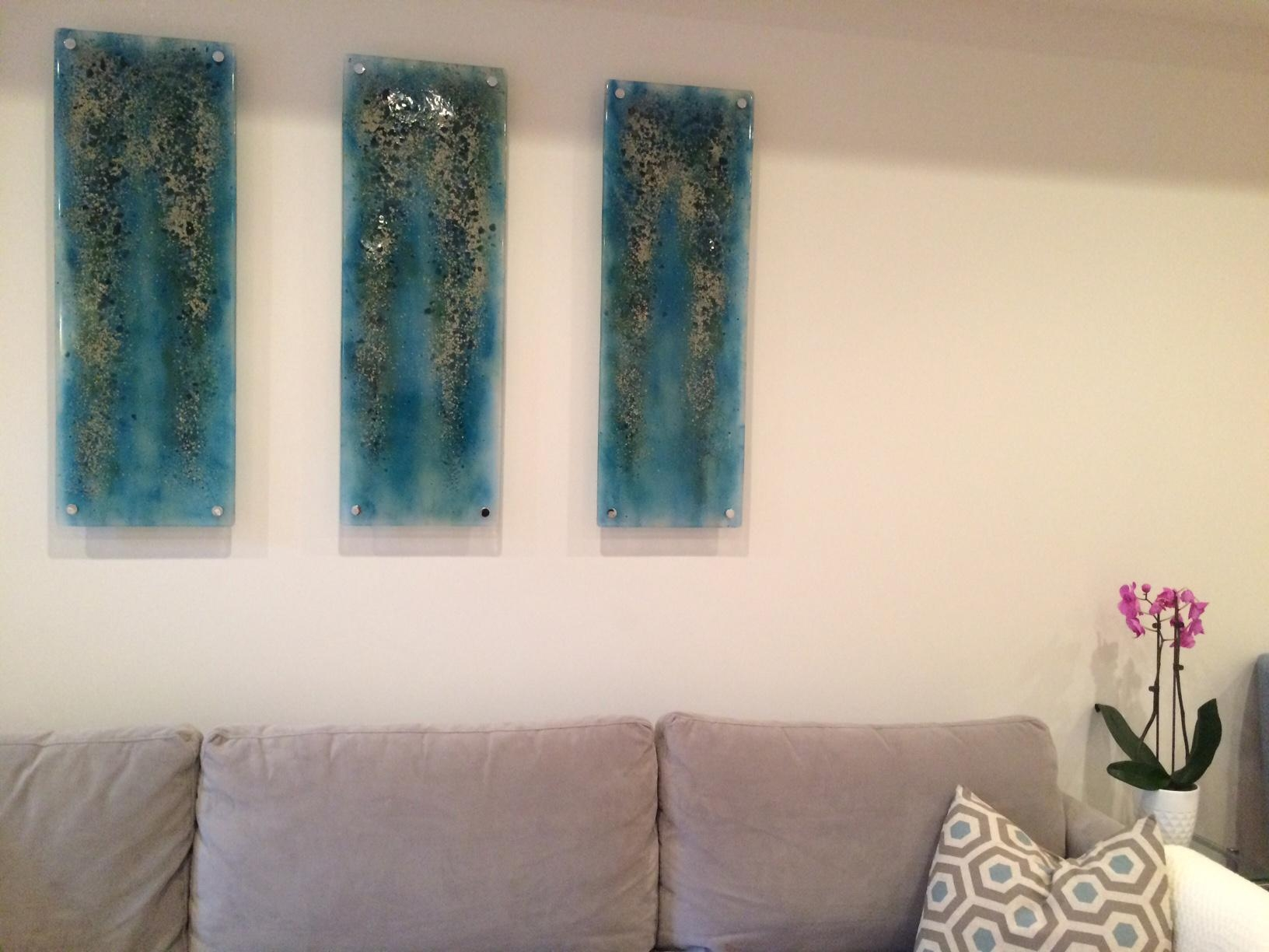"""Blue Fused Glass """"rainforest"""" Panels 