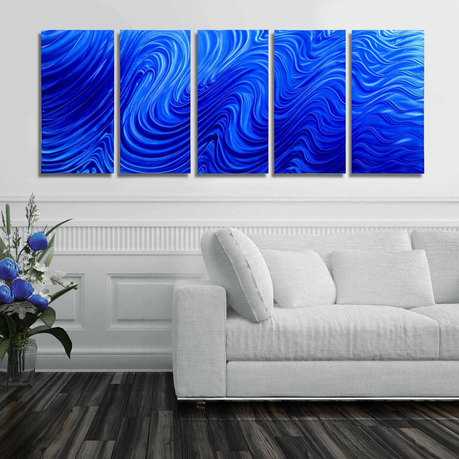 Blue Hypnotic Sands – Blue Four Panel Abstract Metal Wall Art With Regard To Large Abstract Metal Wall Art (Image 8 of 20)