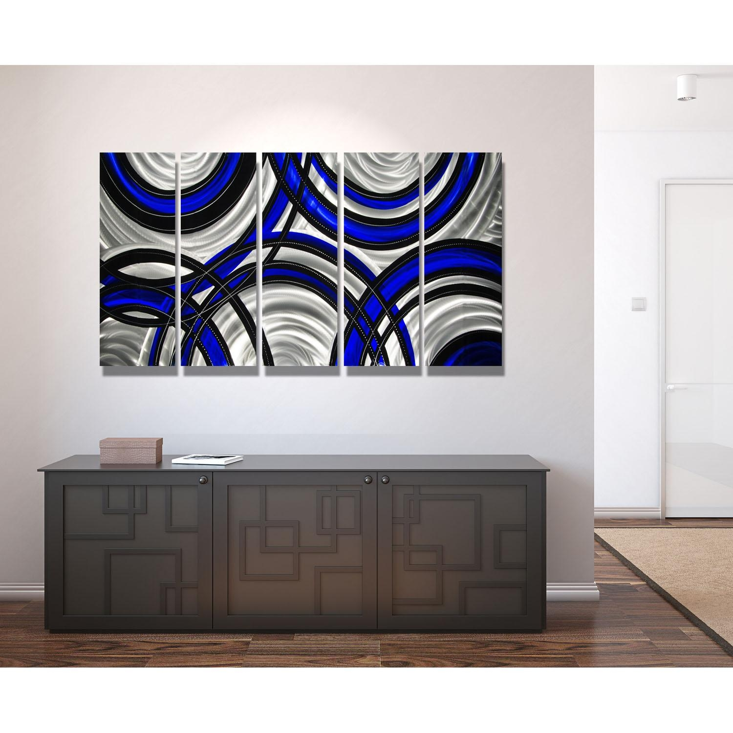 Blue Synergy – Blue, Black And Silver Metal Wall Art – 5 Panel Regarding Black Silver Wall Art (Image 1 of 20)