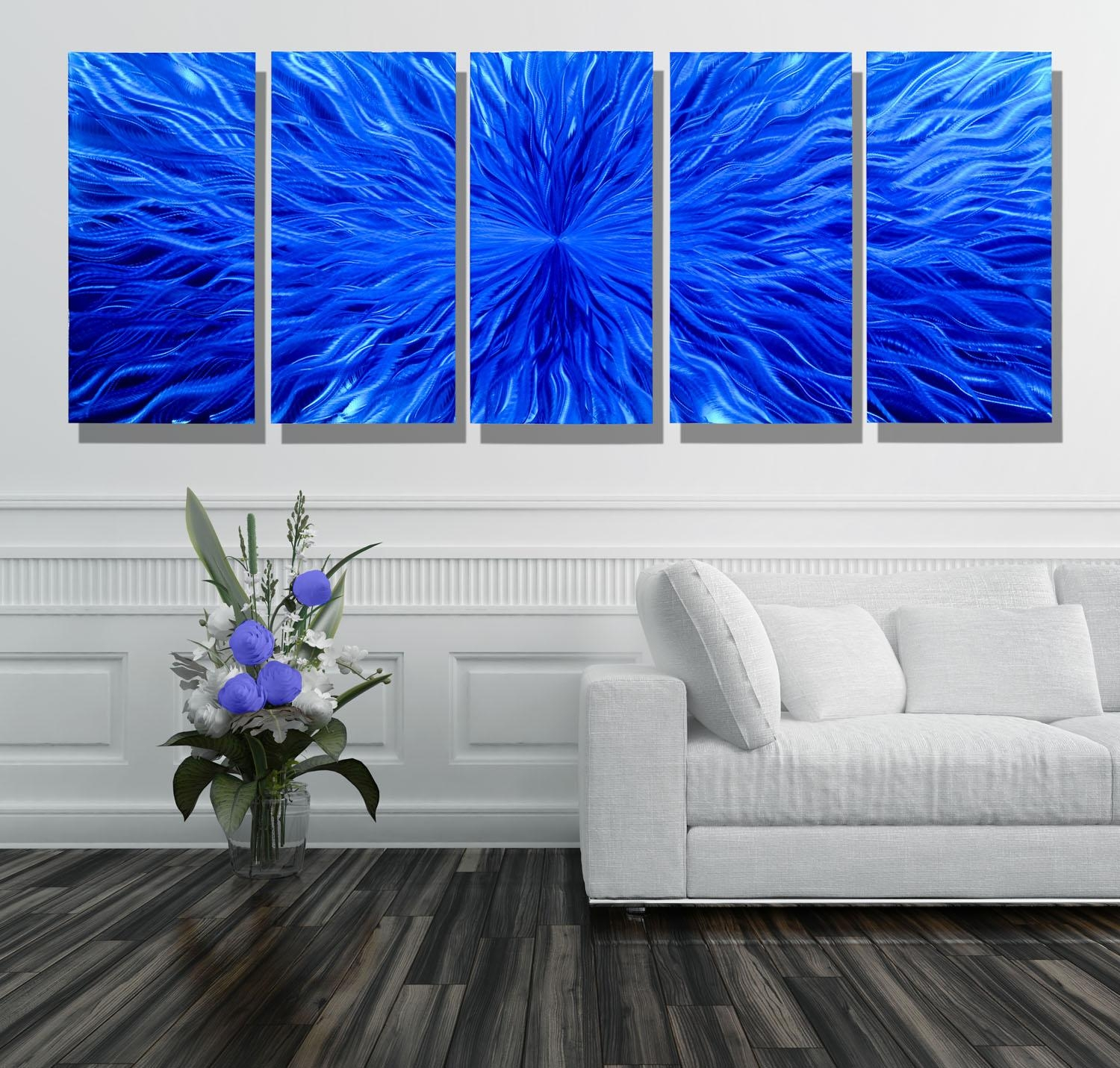 Blue Vortex Xl – Extra Large Modern Contemporary Metal Wall Art Regarding Large Modern Wall Art (View 11 of 20)