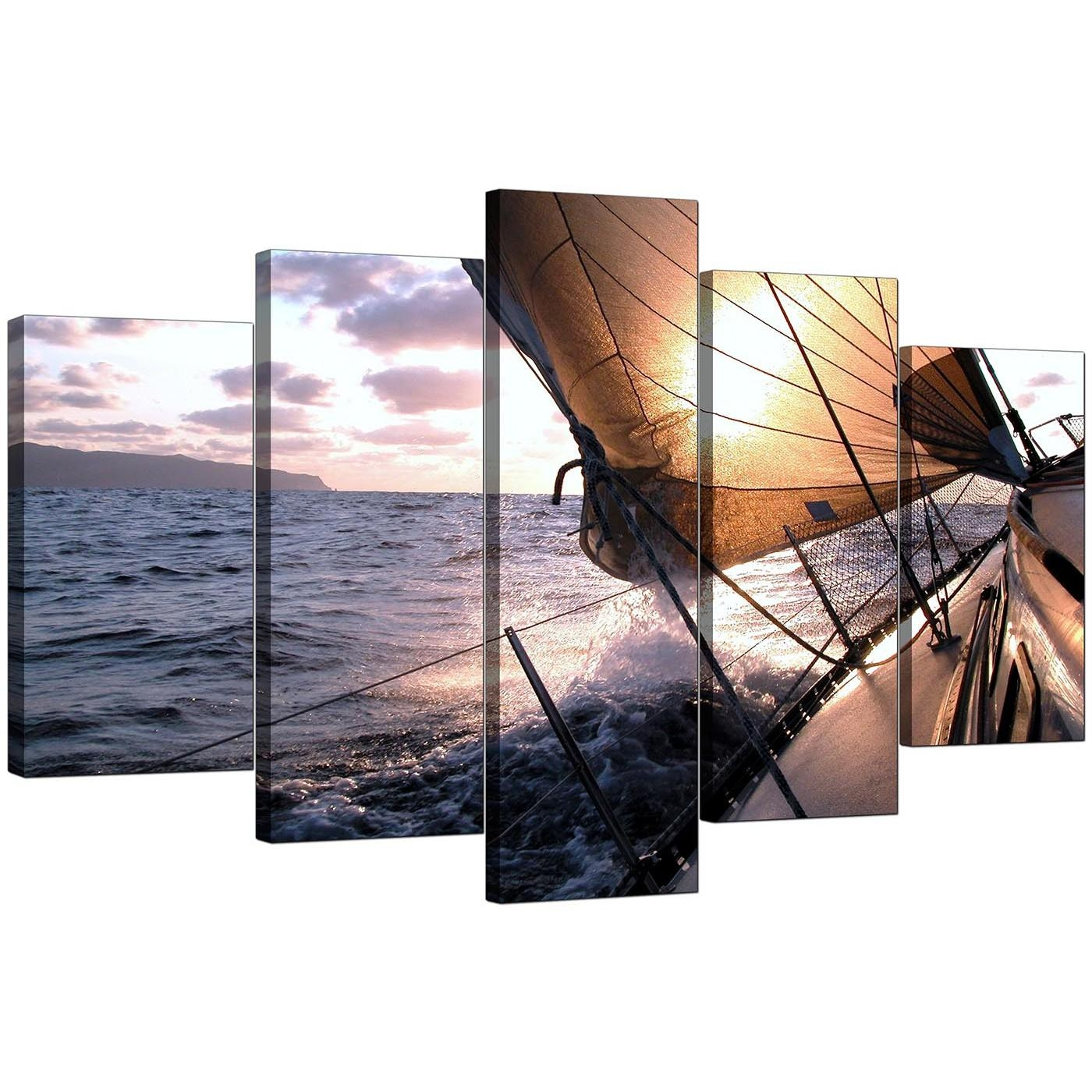 Boat Canvas Prints Uk For Your Living Room – 5 Piece In 4 Piece Canvas Art Sets (Image 3 of 20)