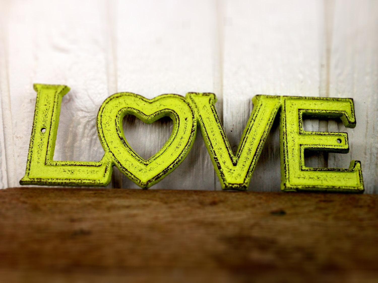 Bold Lime Green Retro Love Sign // Rustic Distressed Shabby With Lime Green Metal Wall Art (Image 7 of 20)