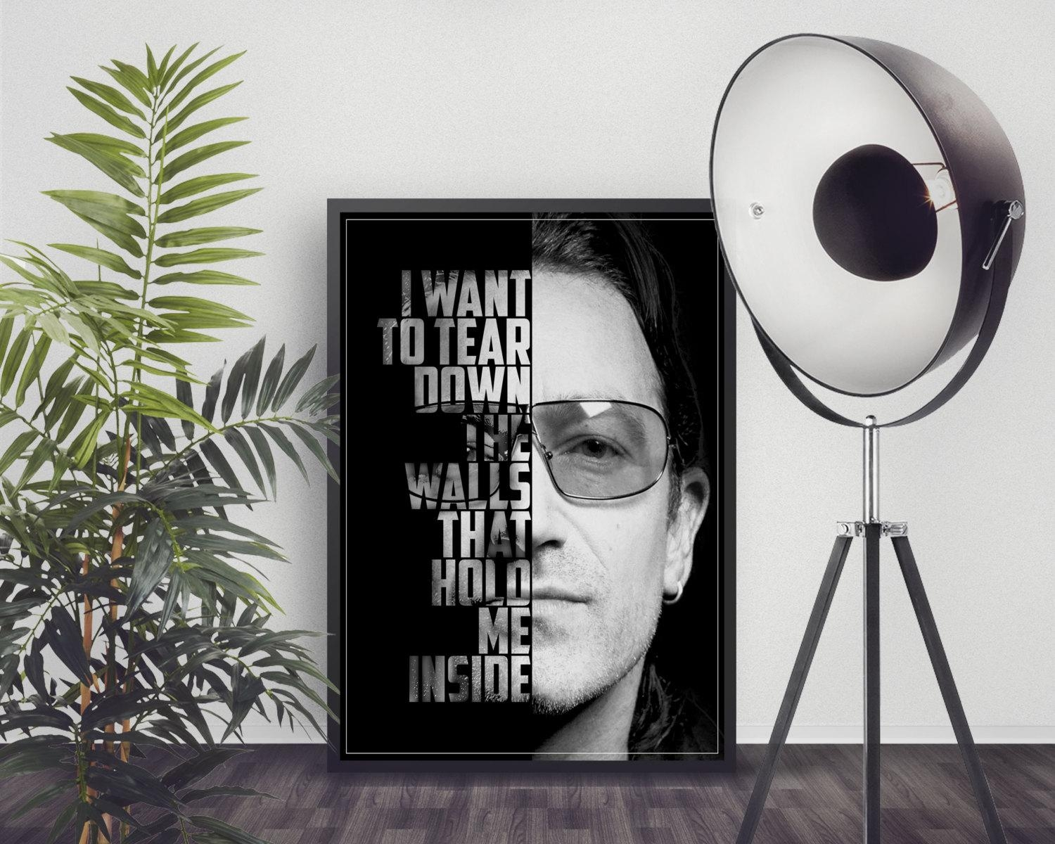 Bono Poster U2 Lyrics U2 Art Print U2 Music Poster In Music Lyrics Wall Art (View 18 of 20)