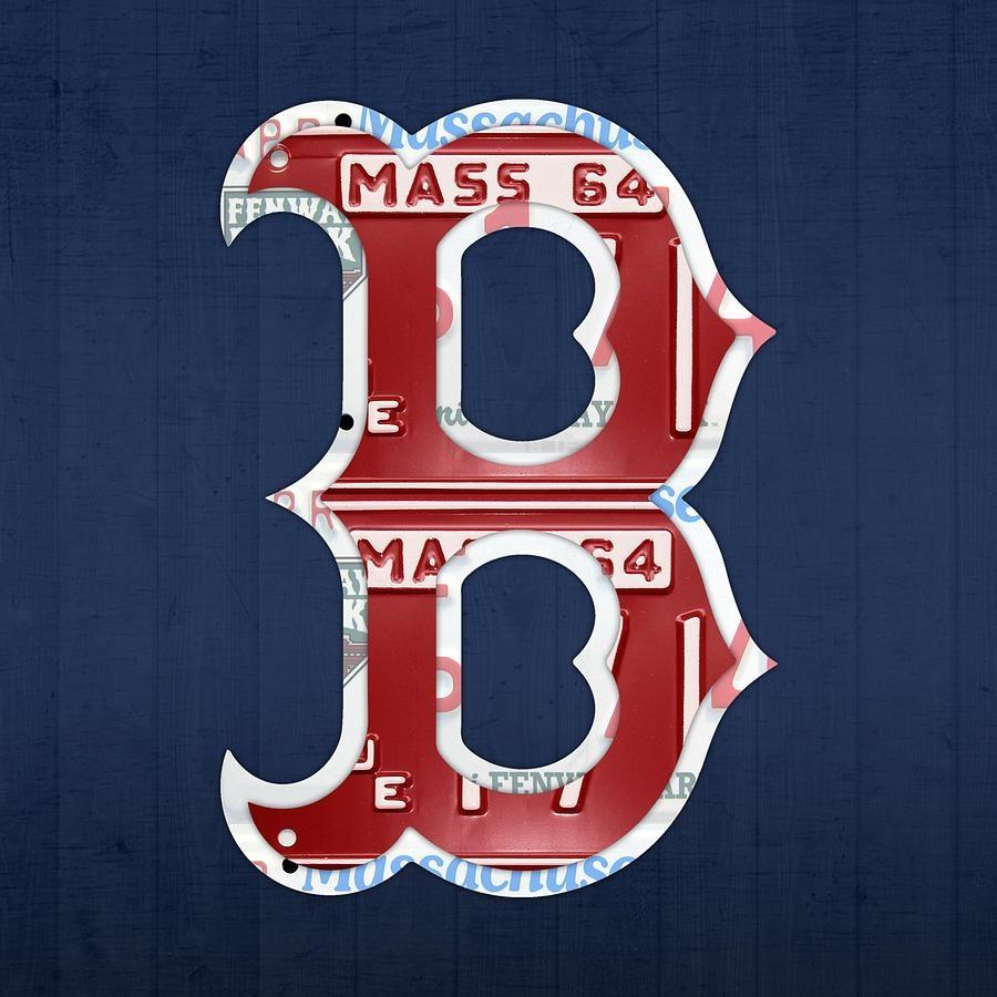 Boston Red Sox Logo Letter B Baseball Team Vintage License Plate Inside Boston Red Sox Wall Art (Image 2 of 20)