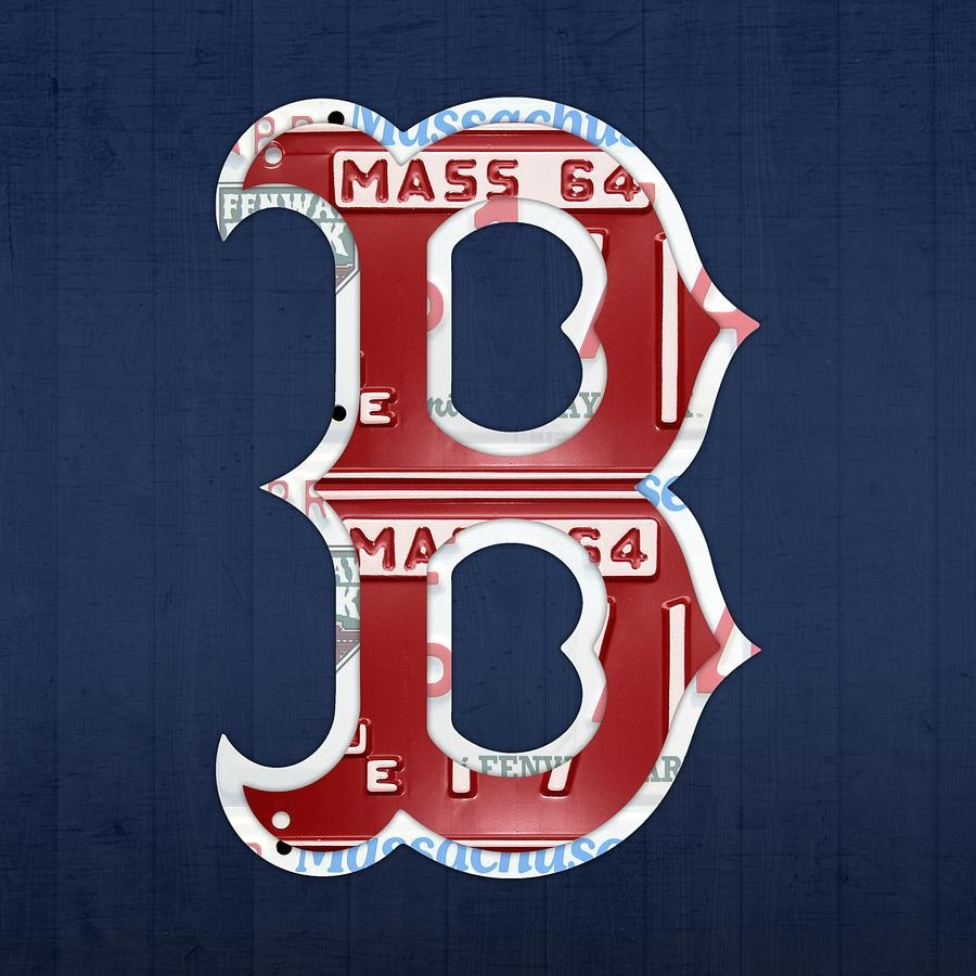 Boston Red Sox Logo Letter B Baseball Team Vintage License Plate With Red Sox Wall Art (Image 5 of 20)