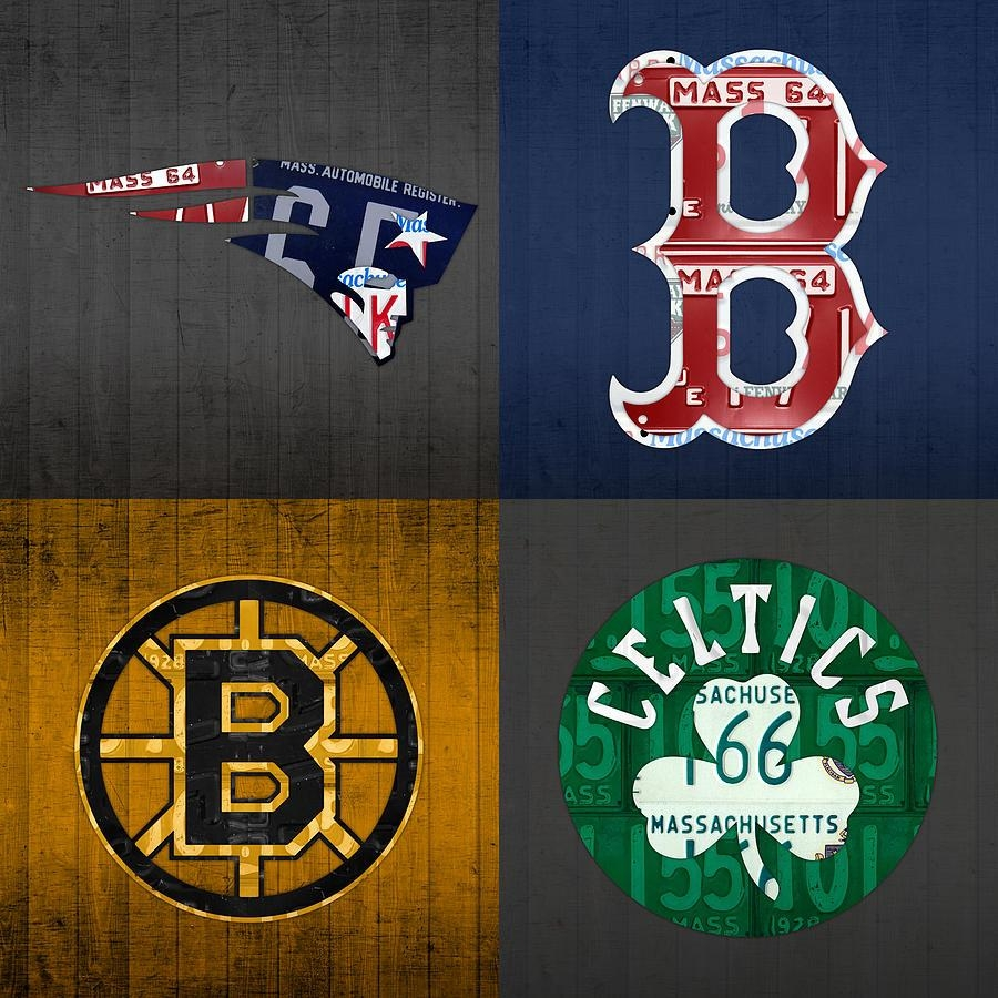 Boston Sports Fan Recycled Vintage Massachusetts License Plate Art Within Red Sox Wall Art (Image 12 of 20)
