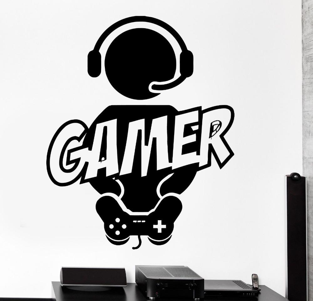 Boy Gamer Vinyl Wall Decal Gamer Play Room Video Games Joystick Throughout Video Game Wall Art (View 19 of 20)