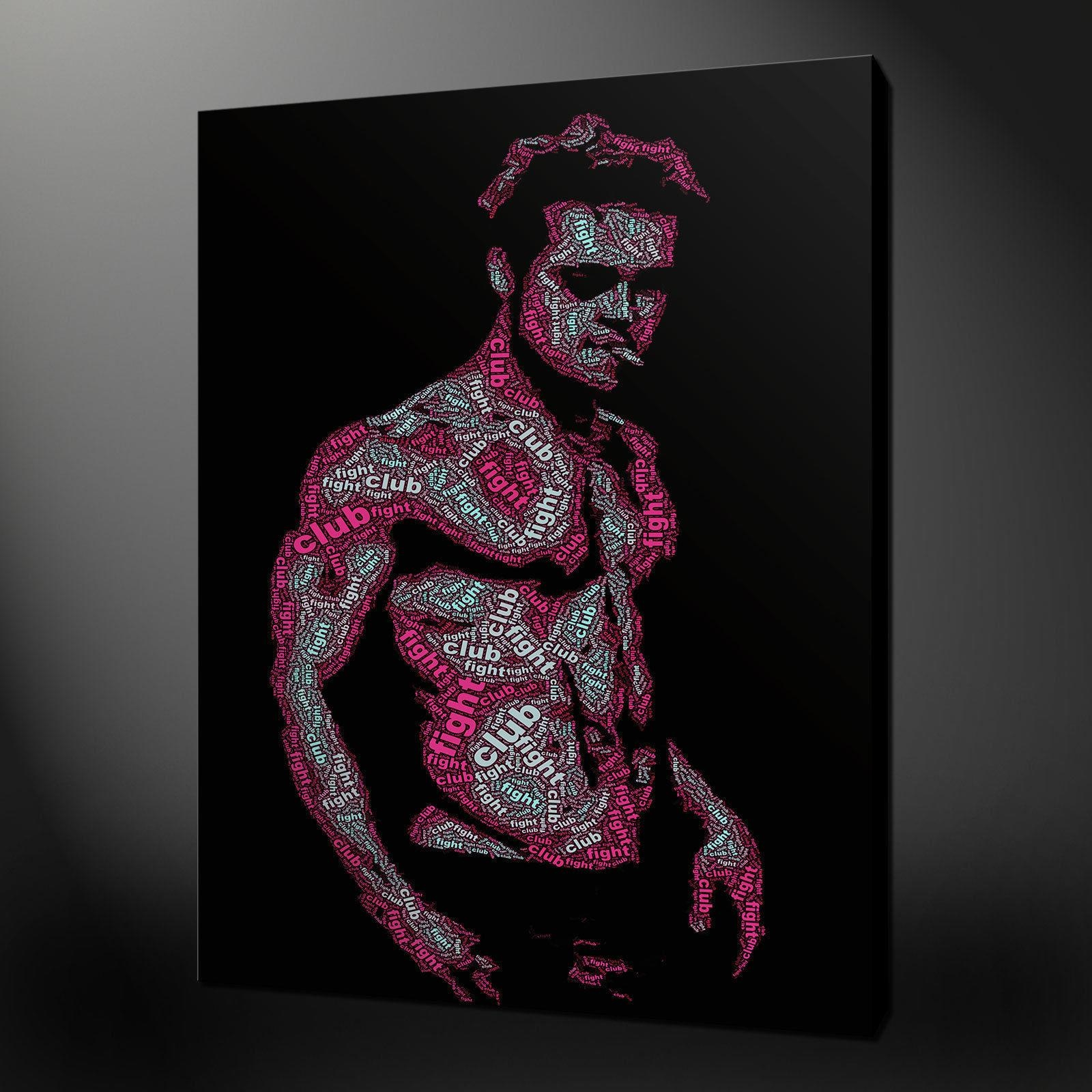 Brad Pitt Fight Club Typography Art Picture Canvas Print 20 X 16 With Regard To Typography Canvas Wall Art (Image 10 of 20)