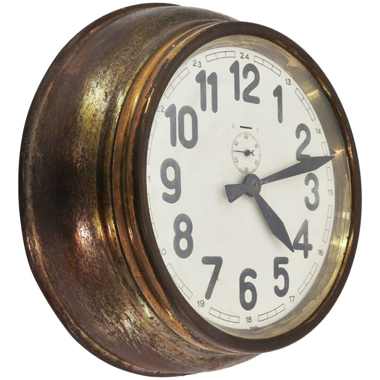 Brass Art Deco Wall Clock At 1Stdibs Inside Art Deco Wall Clocks (Image 10 of 20)