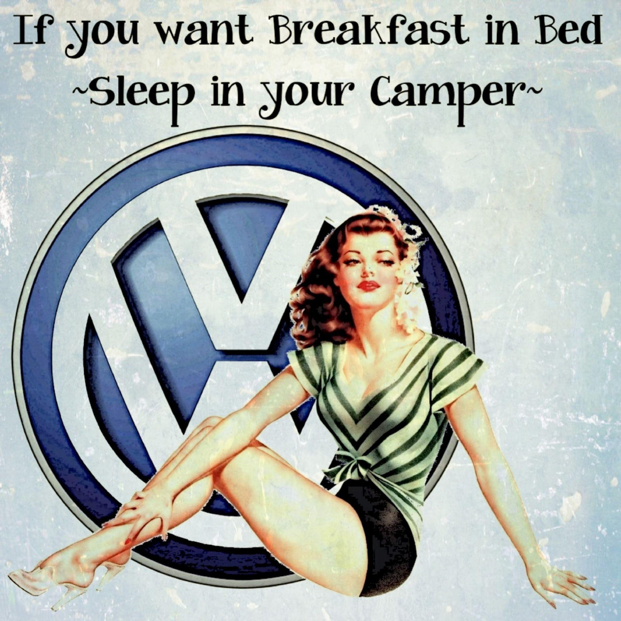 Breakfast In Bed Volkswagen Camper Inspirational Quote Vintage Inside Campervan Metal Wall Art (Image 2 of 20)
