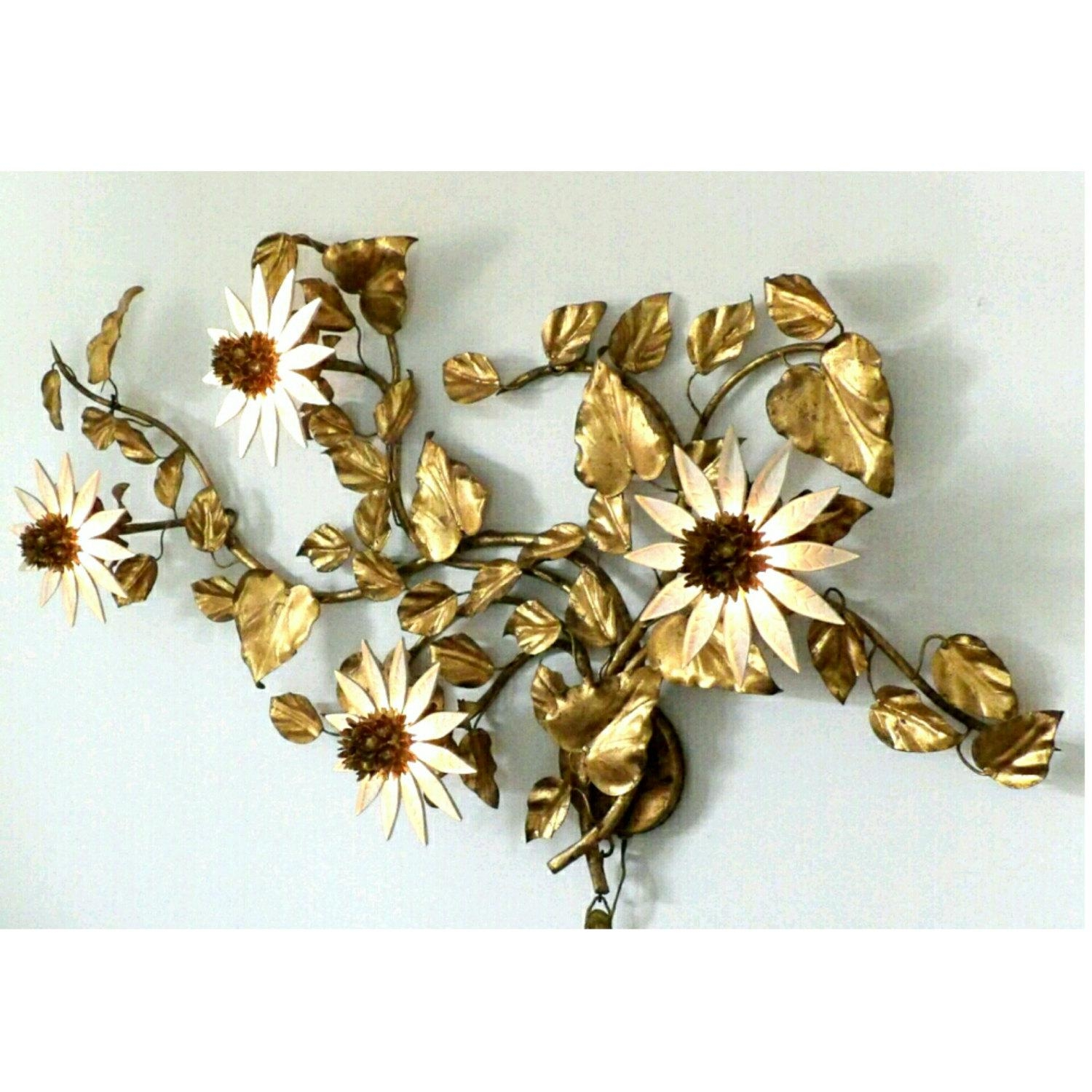 Brevettato Italian Lighted Metal Wall Art Sconce Floral Within Italian Metal Wall Art (View 16 of 20)