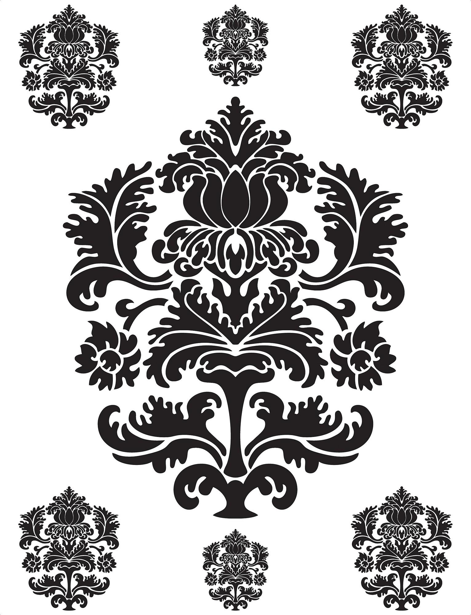 Brewster Home Fashions Spirit Damask Wall Decal – Walmart Within Black And White Damask Wall Art (Image 3 of 20)
