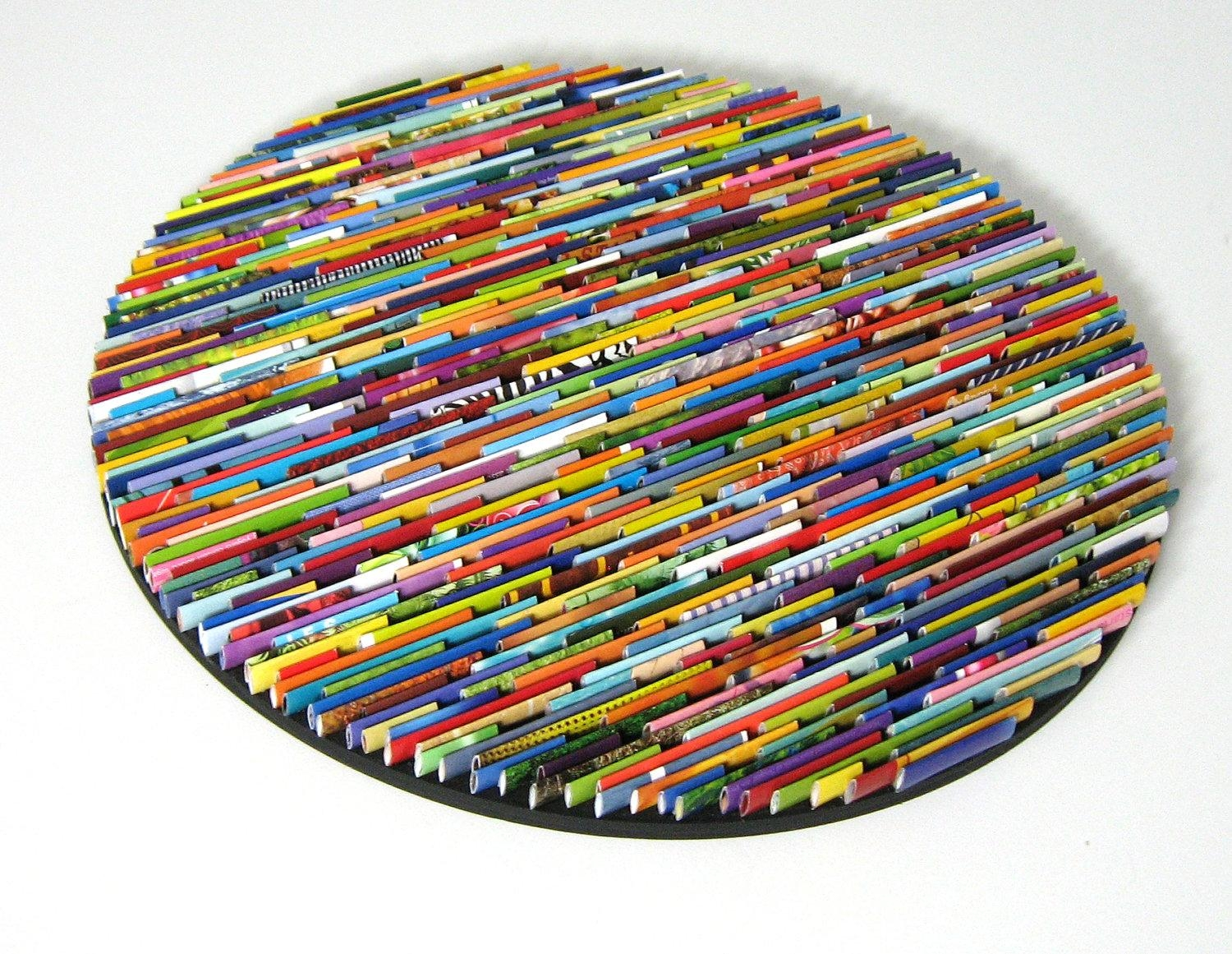 Bright And Colorful Round Wall Art Made From Recycled for Recycled Wall Art