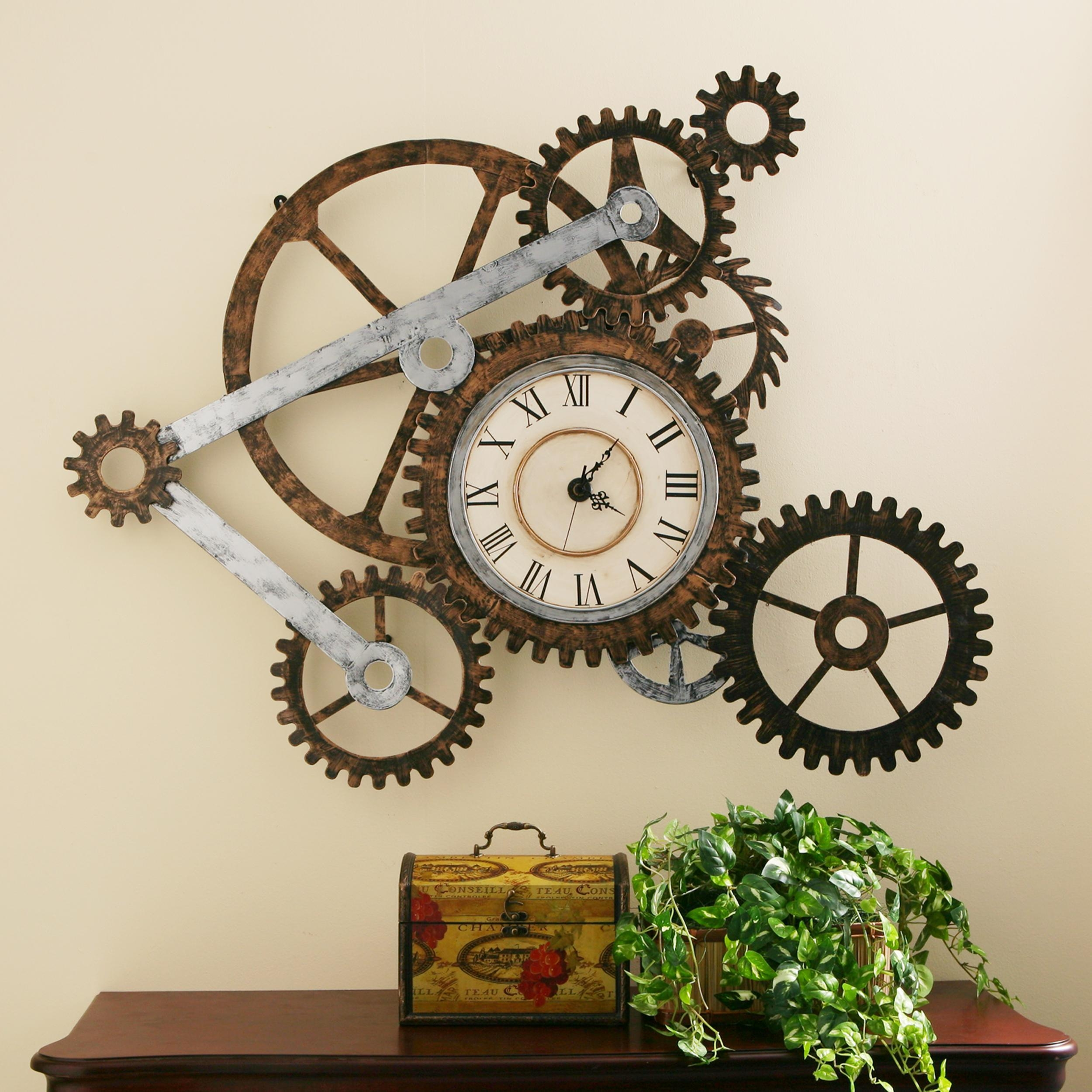 Bright Large Gear Wall Clock 59 Maples Clock Large Moving Gear Pertaining To Large Retro Wall Art (View 20 of 20)