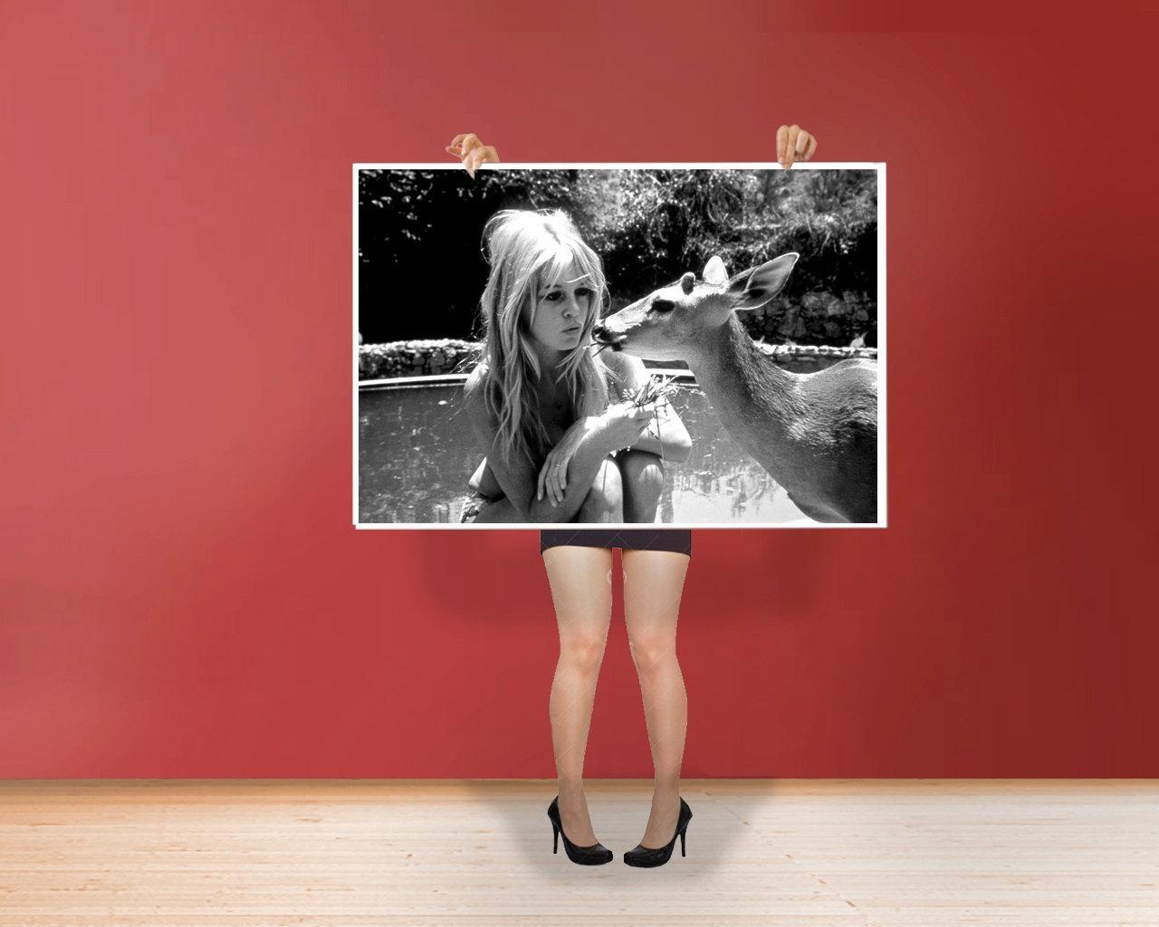 Brigitte Bardot With Deer Classic Art Print Poster Cotton Inside Steve Mcqueen Wall Art (Image 5 of 20)