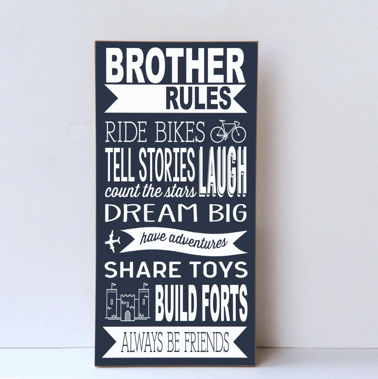 Brother Rules Wood Sign Boys Room Decor Playroom Wall Sign Within Playroom Wall Art (Image 10 of 20)
