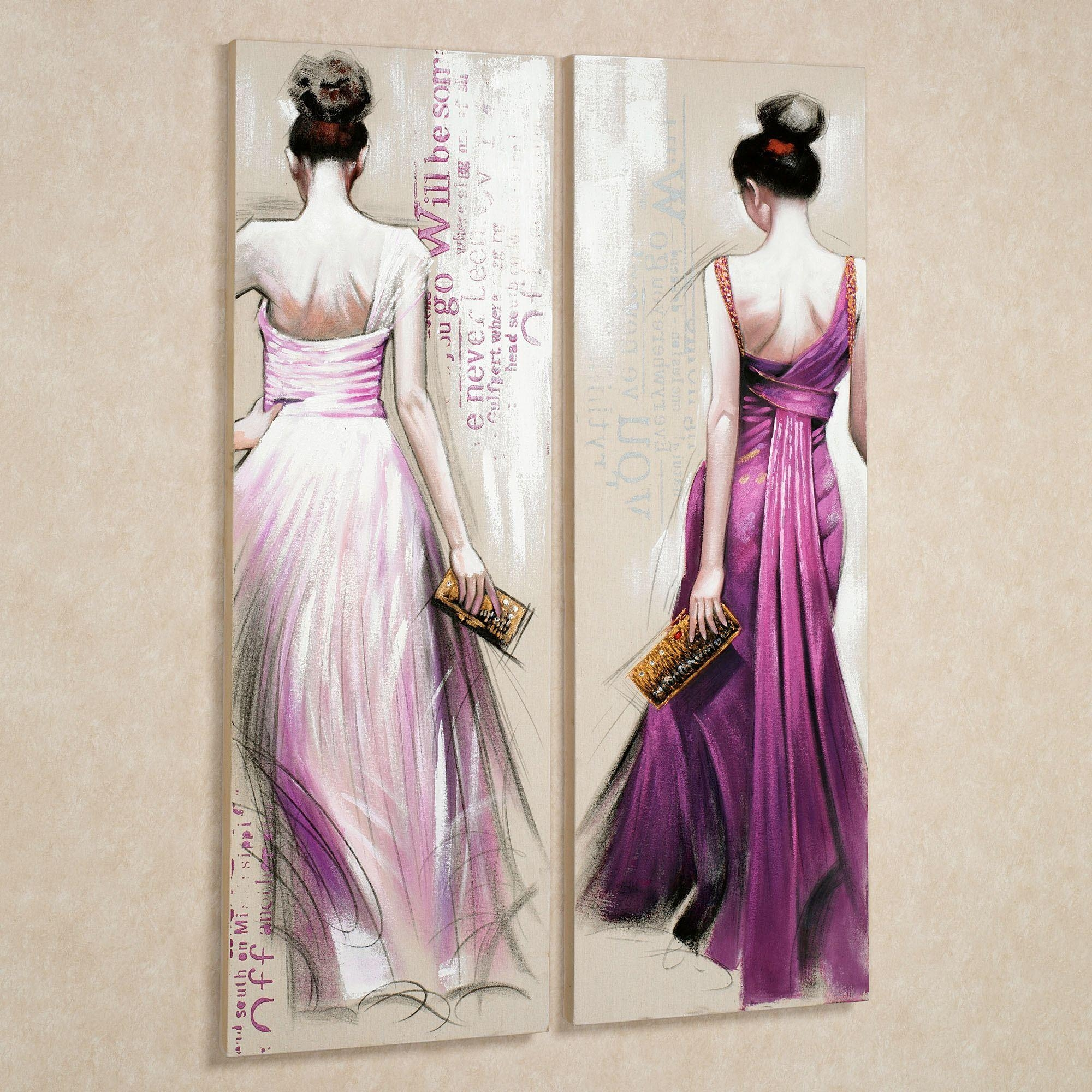 Brunette Beauties Canvas Wall Art Set In Purple Wall Art Canvas (Image 5 of 20)