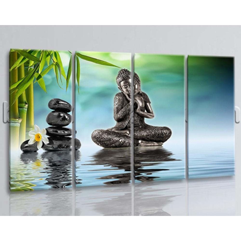 Buddha Feng Shui Wall Art Painting Living Room 4 Panels Canvas Print Inside Feng Shui Wall Art (Image 2 of 20)