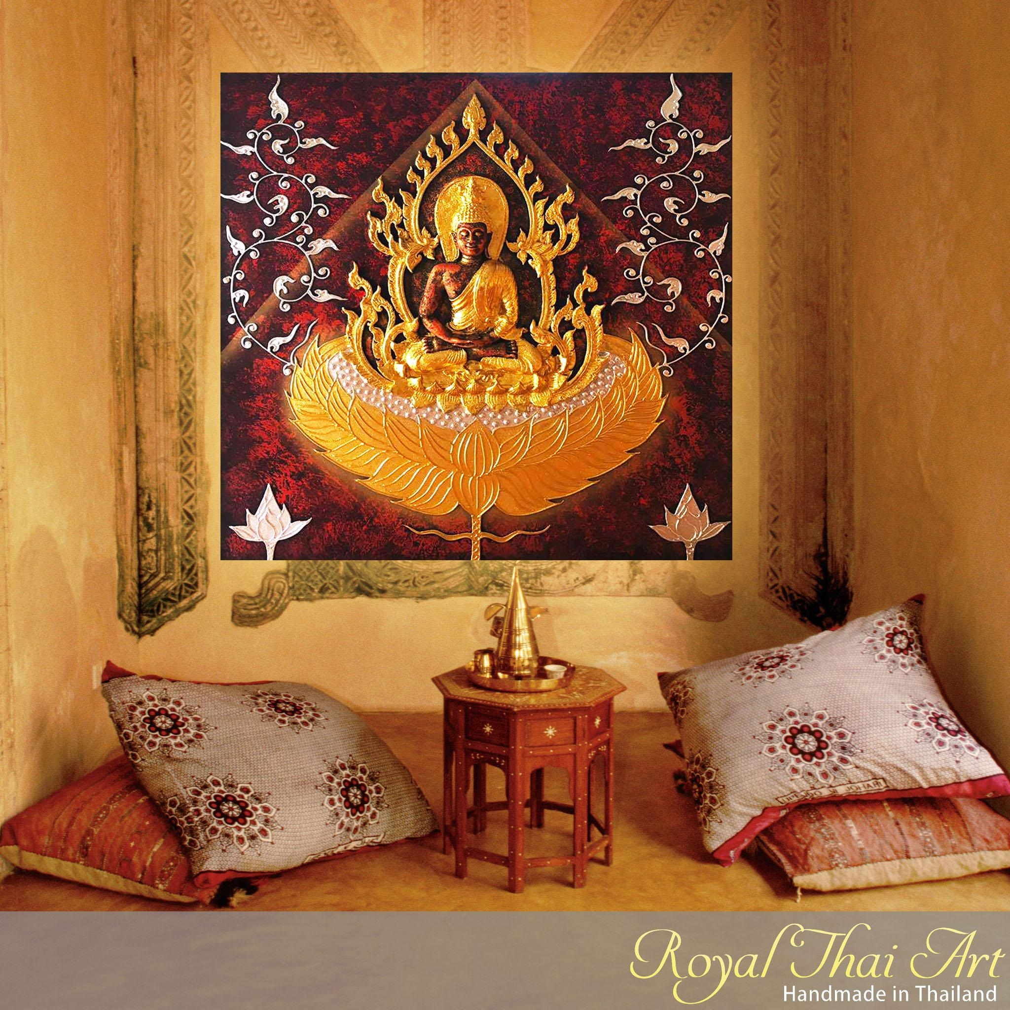 Buddha Painting 3D Handmade Gold Statue | Royal Thai Art Throughout Buddha Wood Wall Art (Image 3 of 20)