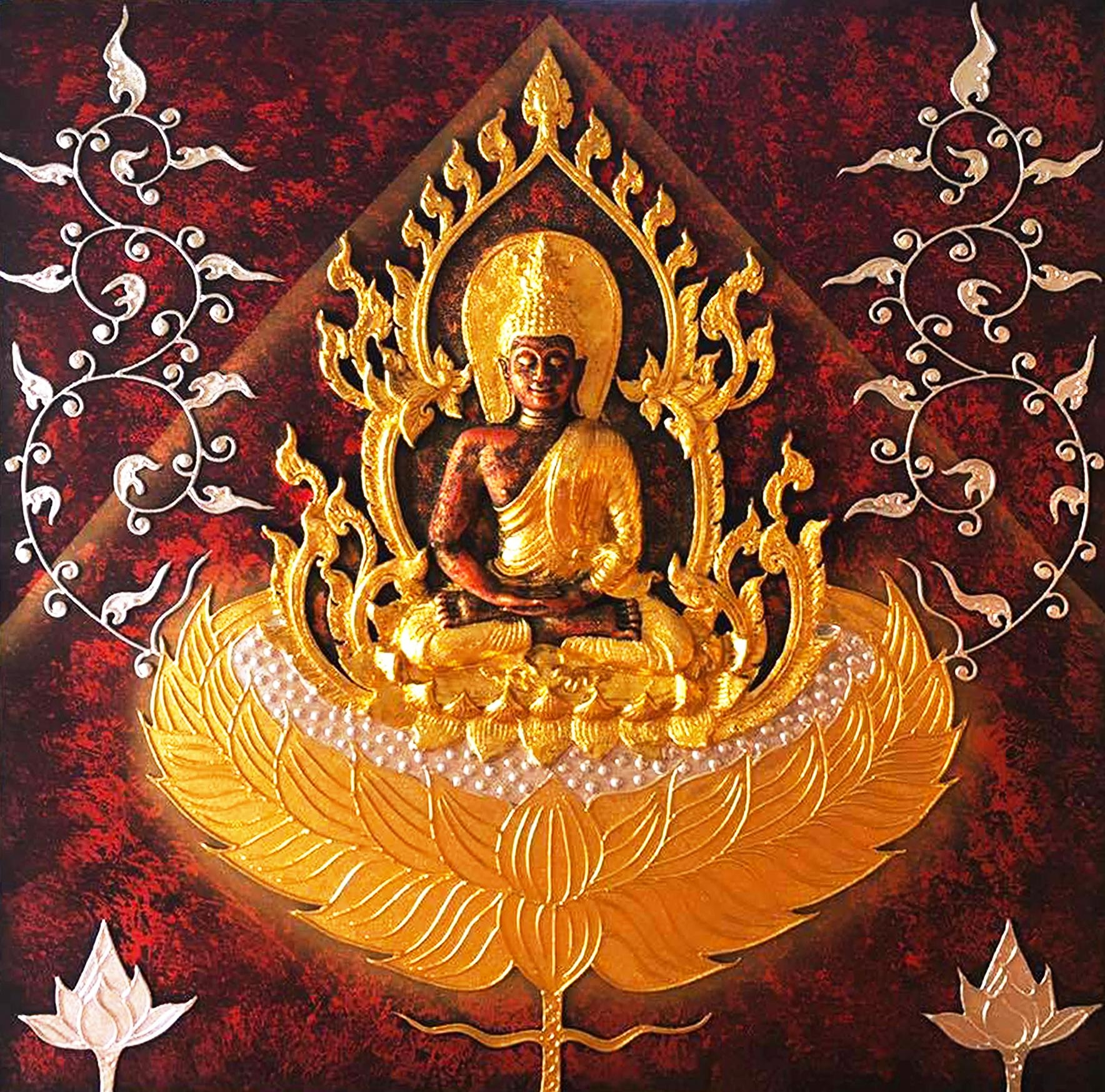 Buddha Painting 3D Handmade Gold Statue | Royal Thai Art With Buddha Wooden Wall Art (Image 5 of 20)