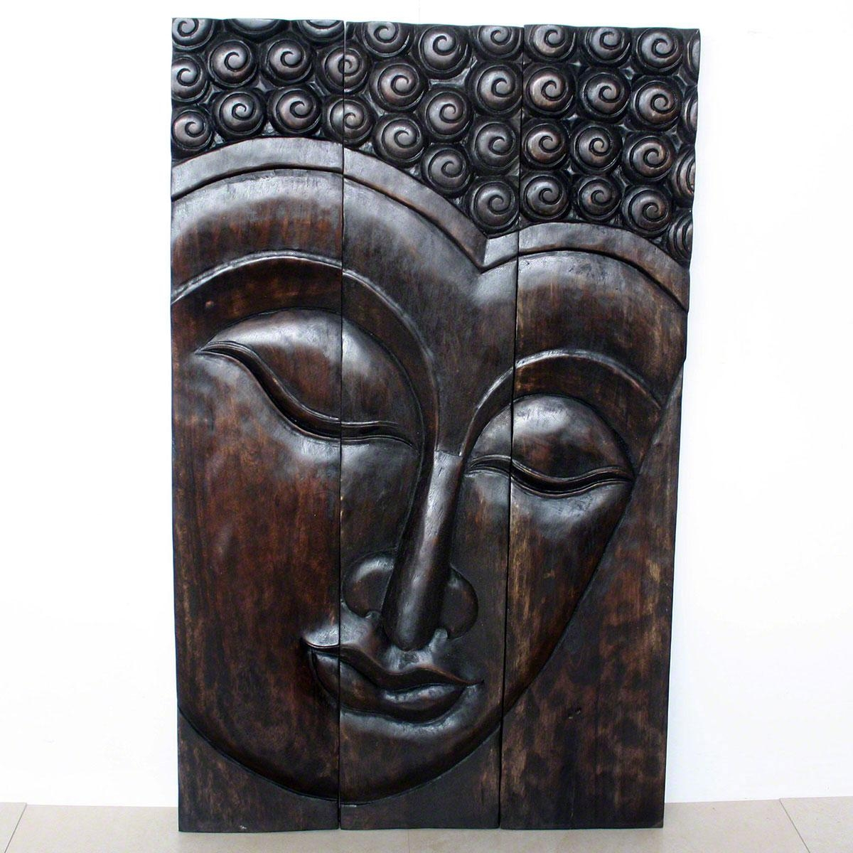 Buddha Serene Wall Decor|Carved Wood Panel Agate Grey Mocha Walnut With Regard To Buddha Wooden Wall Art (Image 6 of 20)