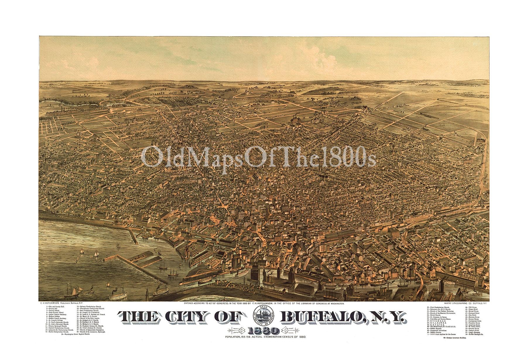 Buffalo, Ny In 1880 – Bird's Eye View Map, Aerial Map, Panorama Within Vintage Map Wall Art (Image 3 of 20)