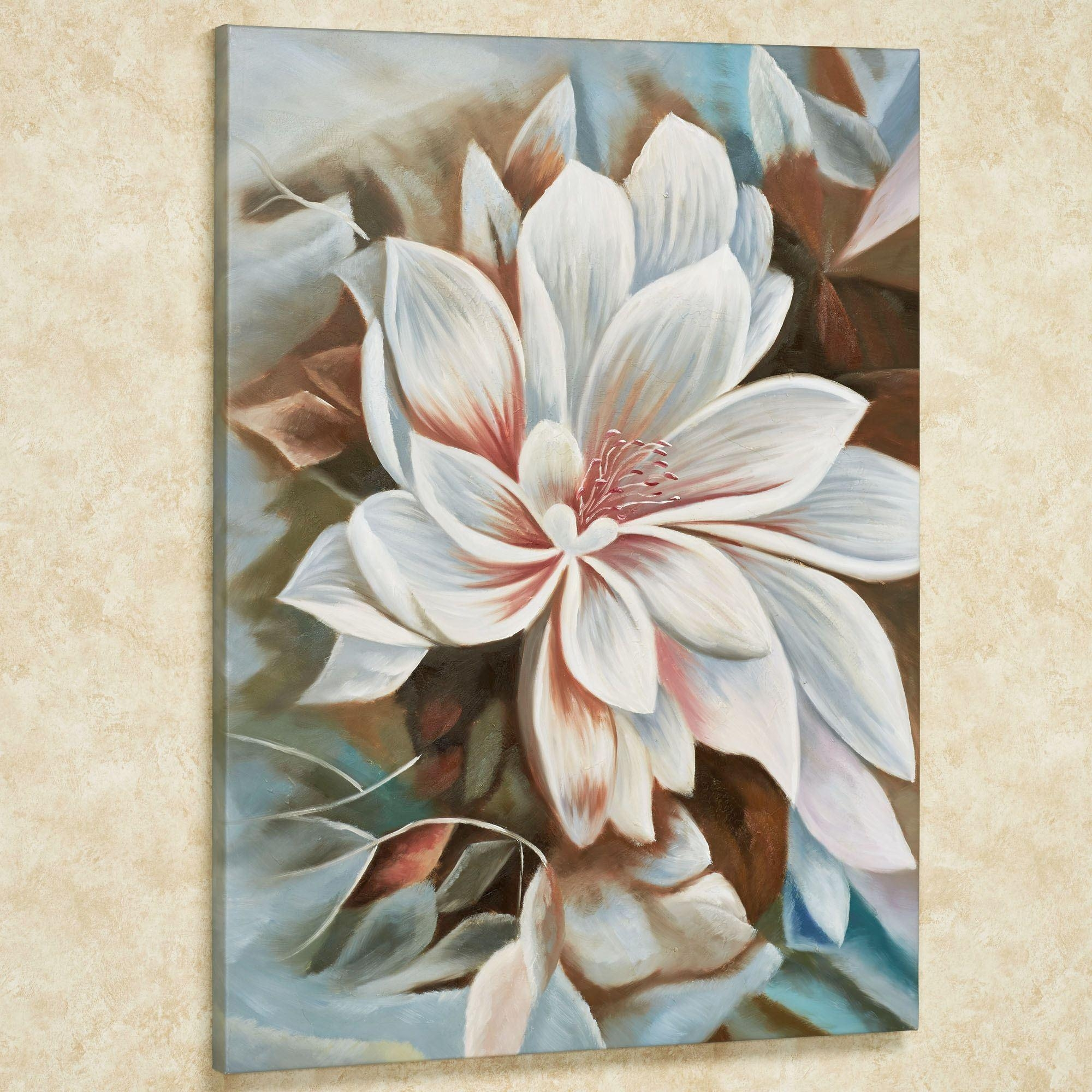 Bursting Beauty Magnolia Floral Canvas Wall Art With Floral Wall Art Canvas (Image 3 of 20)
