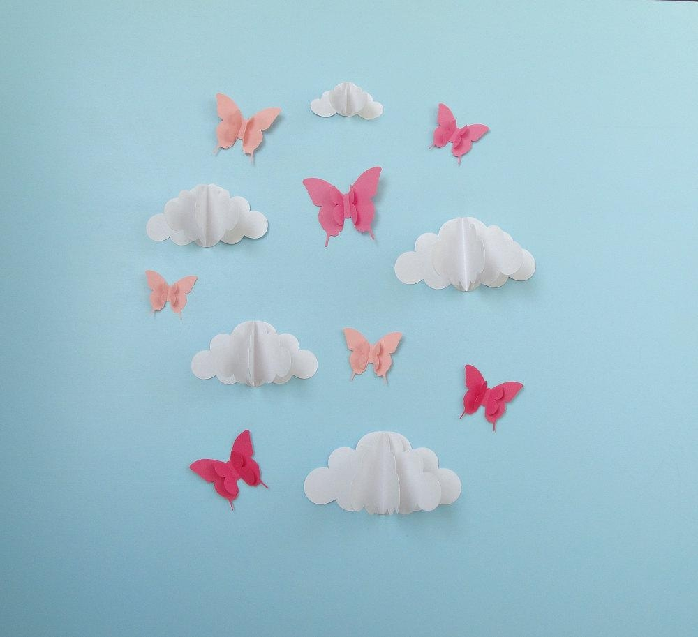 Butterflies And Clouds 3D Paper Wall Art/ Wall Decor/wall Within 3D Clouds Out Of Paper Wall Art (Image 12 of 20)