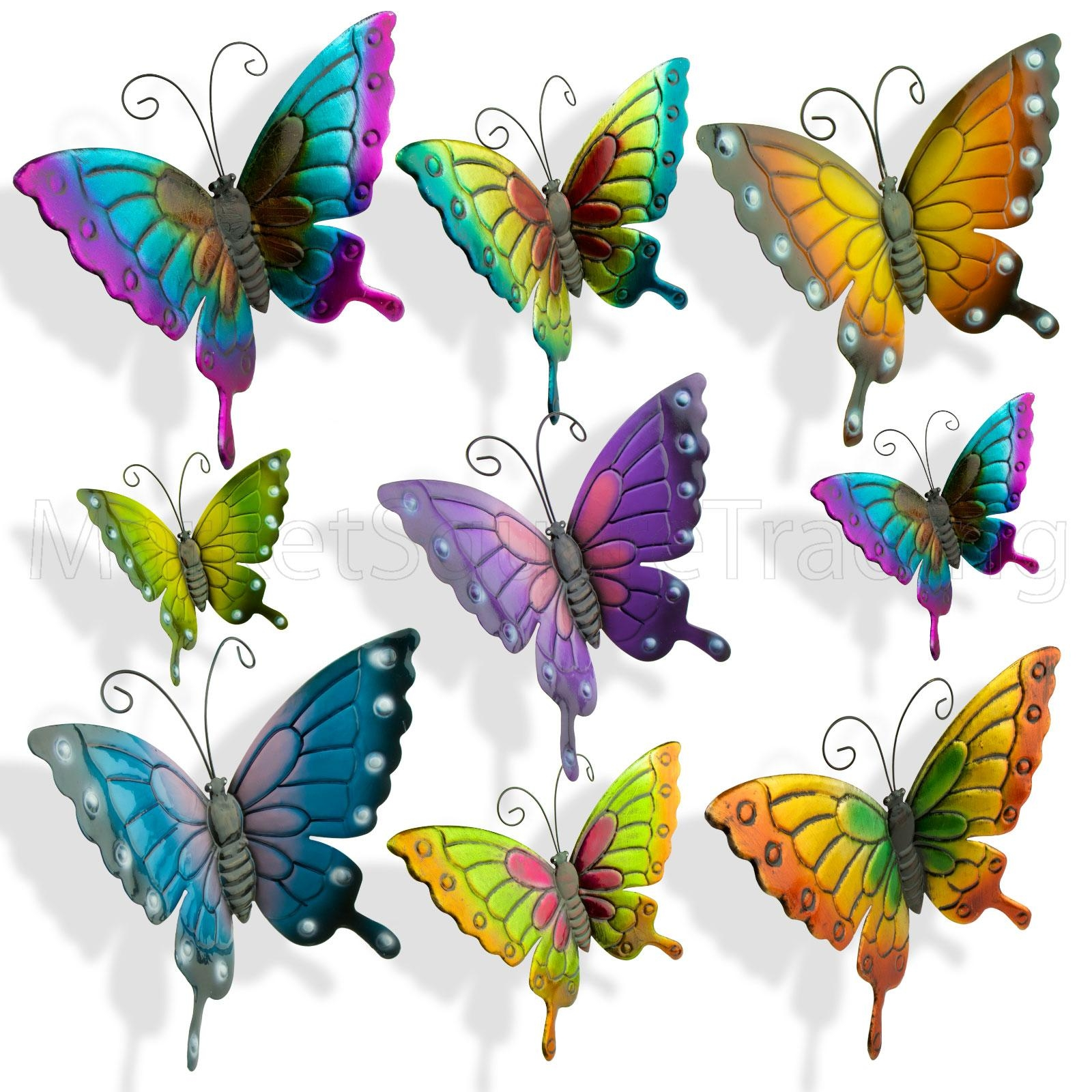 Butterflies X 4Pc Extra Large Outdoor Metal Butterfly Garden In Large Metal Butterfly Wall Art (Image 3 of 20)