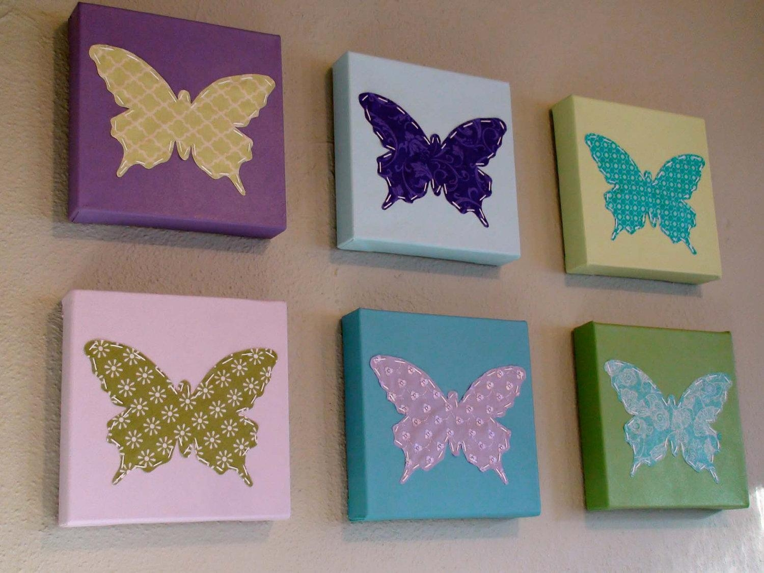 Butterfly Canvas Wall Art Diy | Wallartideas With Regard To Butterfly Canvas Wall Art (Image 3 of 20)