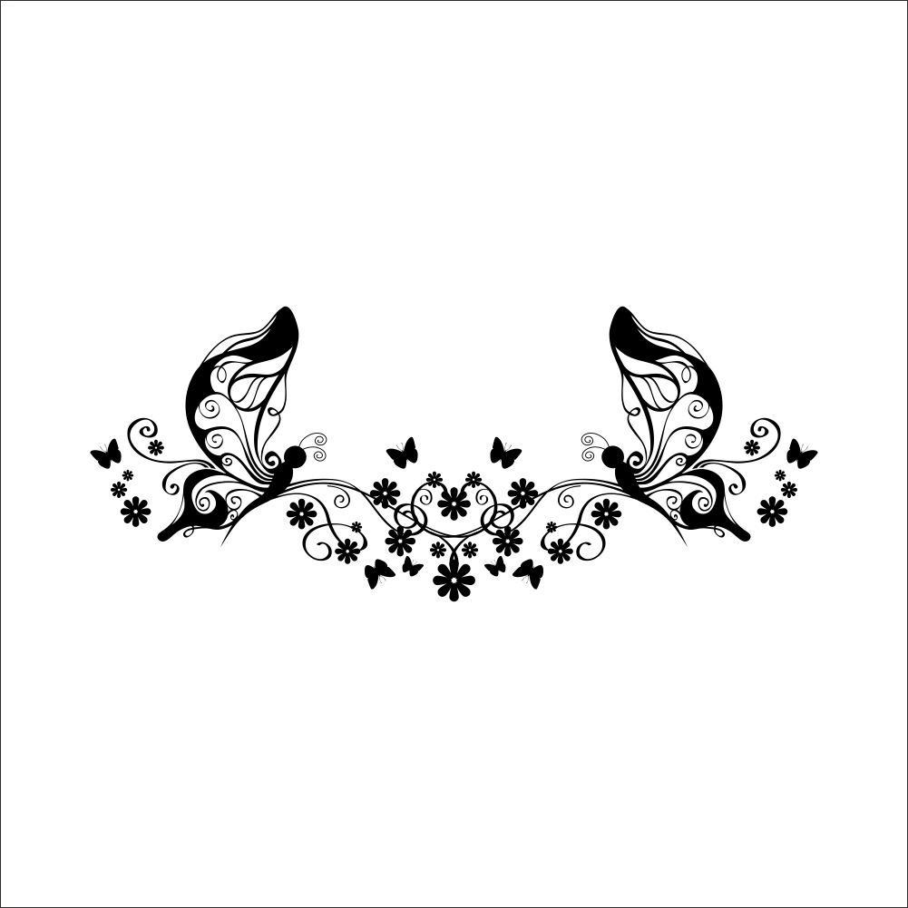 Butterfly Flower Vine Wall Art Decal Sticker Butterfly Fairy Wall With Black And White Damask Wall Art (Image 4 of 20)