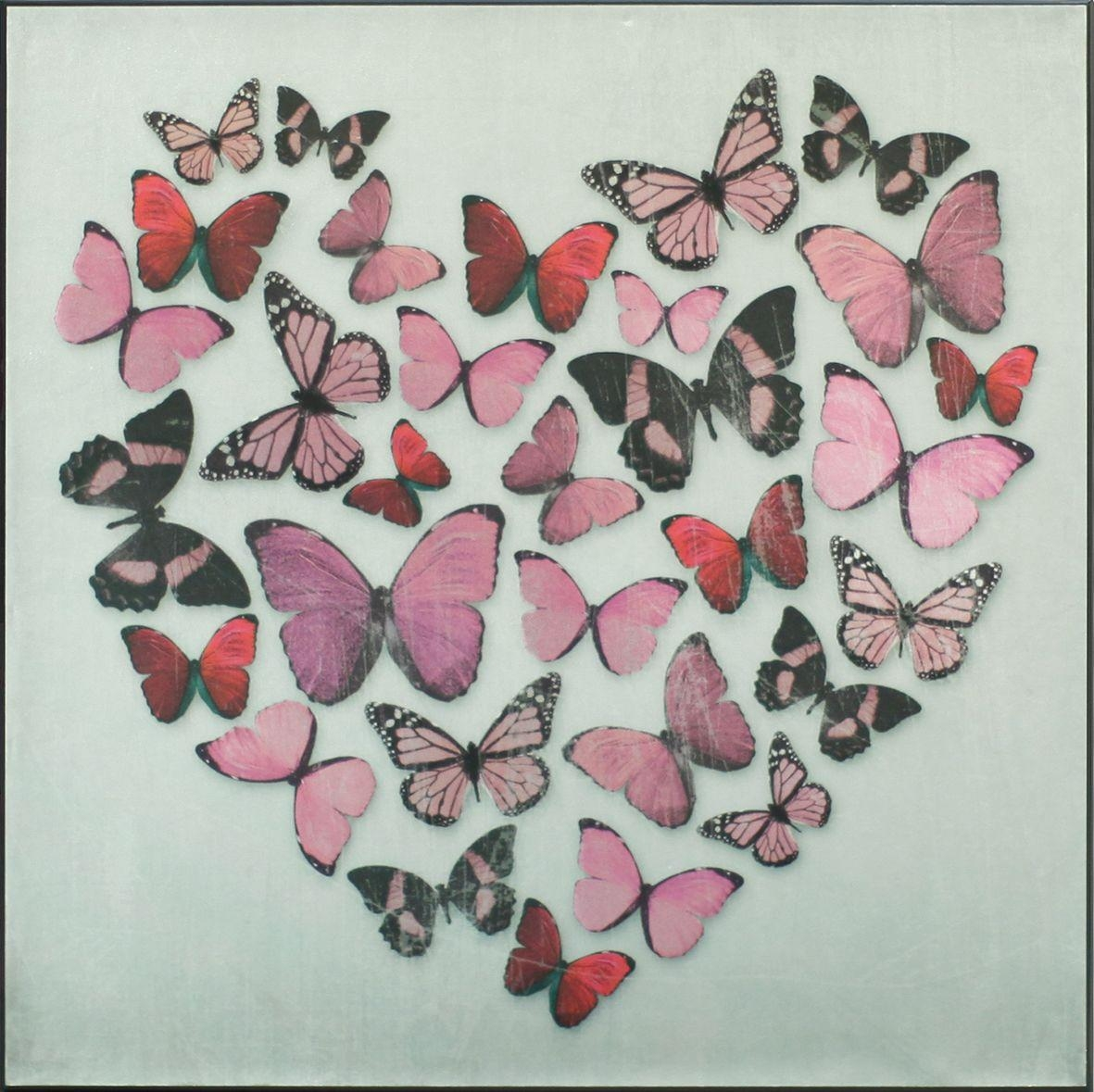 Butterfly Love Pink Superfoil Canvasarthouse : Wallpaper Direct Regarding Butterfly Canvas Wall Art (Image 6 of 20)