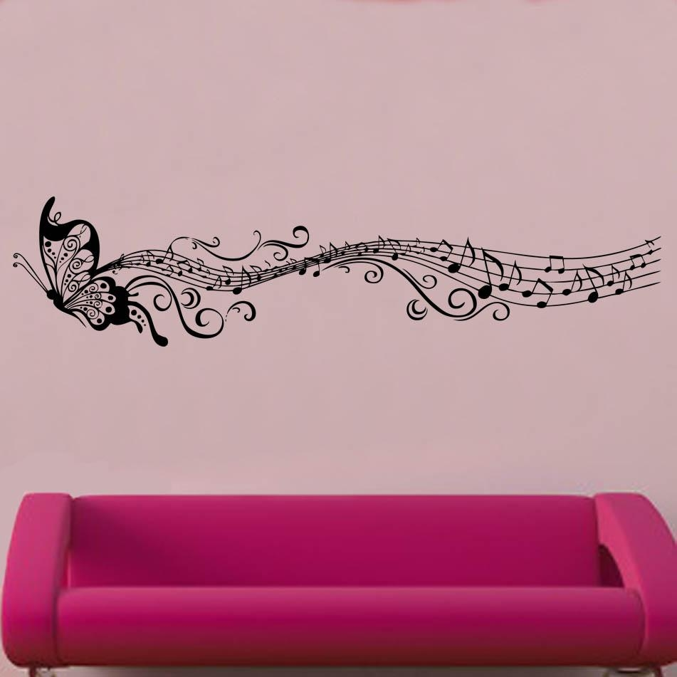 Butterfly & Music Notes Vinyl Wall Art   Shop Intended For Music Note Wall Art (View 12 of 20)