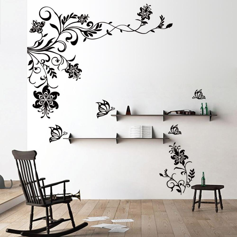 Butterfly Vine Flower Wall Decals Vinyl Art Stickers Living Room With Butterflies Wall Art Stickers (Image 5 of 20)