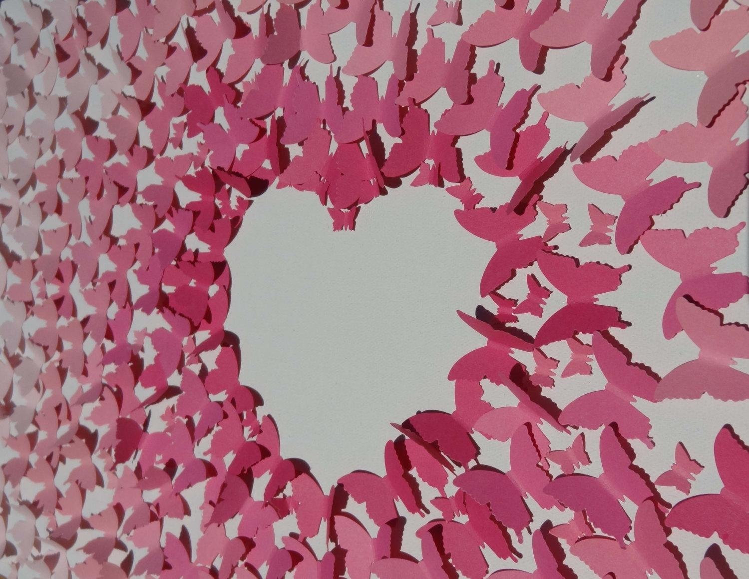 Butterfly Wall Art Pink Ombre' 3D Heart Negative Space Intended For Pink Butterfly Wall Art (Image 11 of 20)