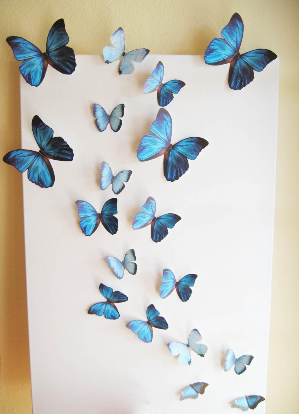 Butterfly Wall Decor Stickers – Homeremodelingideas For Ceramic Butterfly Wall Art (Image 11 of 20)