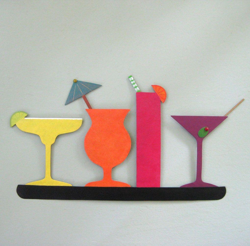 Buy A Custom Made Metal Art Sculpture Kitchen Wall Art Decor in Martini Metal Wall Art