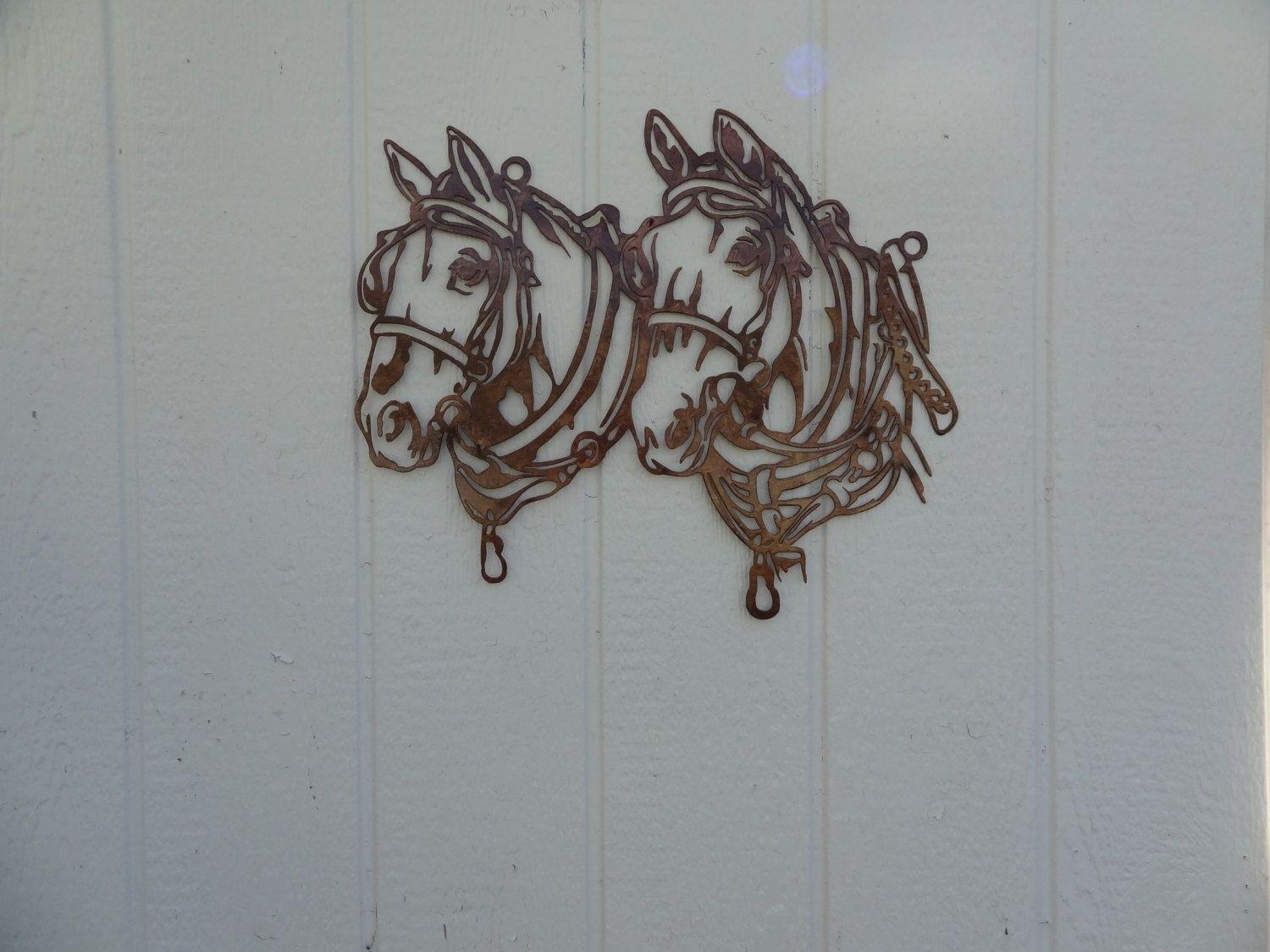 Buy A Hand Crafted Draft Horse Head Metal Wall Art Country Rustic Pertaining To Country Metal Wall Art (Image 3 of 20)