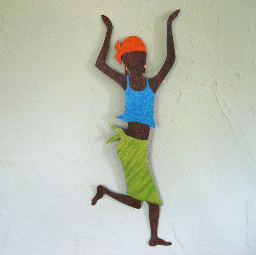 Buy A Hand Made Metal Art Wall Sculpture Caribbean Dancer Wall In African Metal Wall Art (Image 3 of 20)
