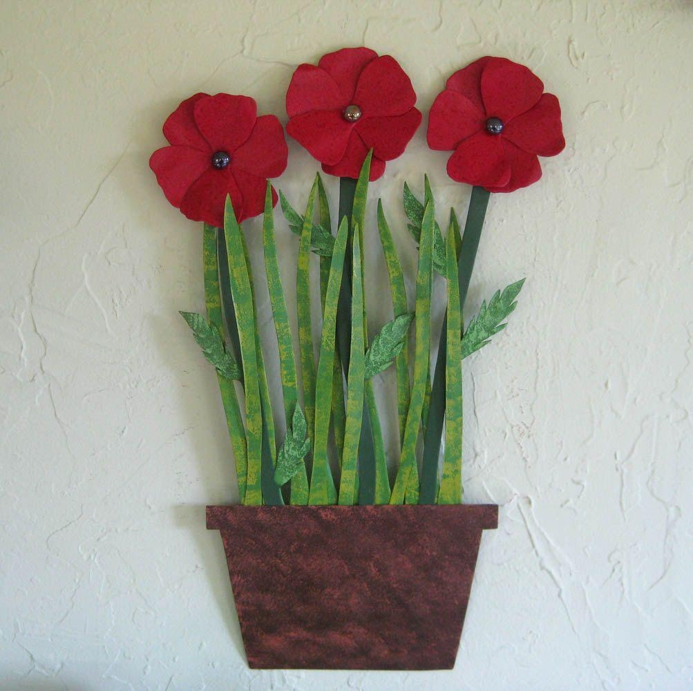 Featured Photo of Metal Poppy Wall Art