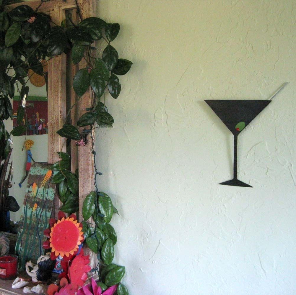 Buy Hand Crafted Metal Art Sculpture Martini Kitchen Art Upcycled Pertaining To Martini Metal Wall Art (View 7 of 20)