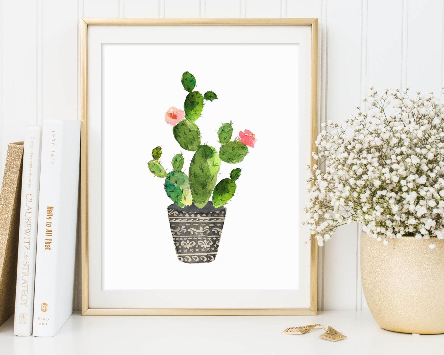 Cactus Print Cactus Printable Cactus Wall Art Botanical Intended For Botanical Prints Etsy (Image 17 of 20)
