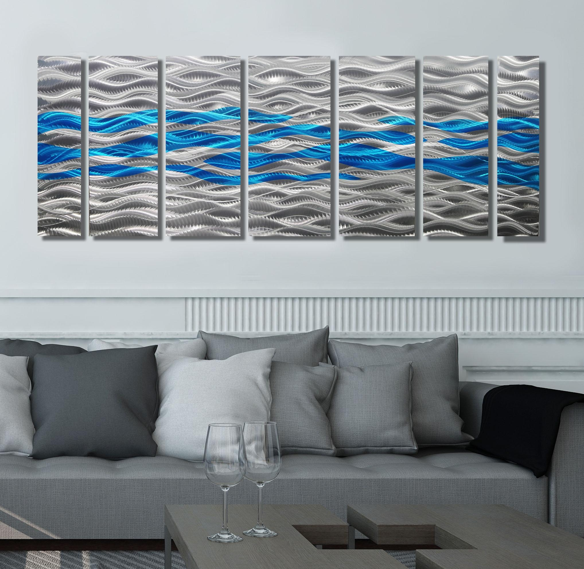 Caliente Aqua – Silver & Aqua Blue Abstract Metal Wall Artjon Pertaining To Blue And Silver Wall Art (Image 9 of 20)