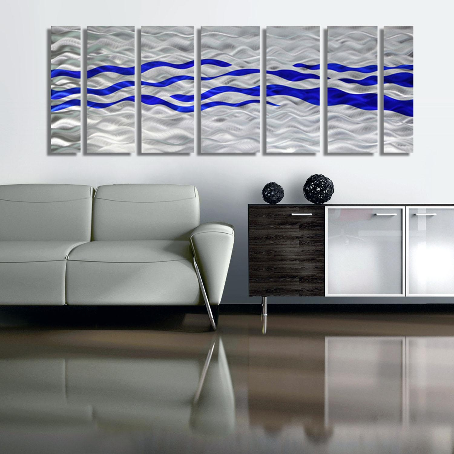 Caliente Blue – Silver & Blue Abstract Metal Wall Artjon Allen In Blue And Silver Wall Art (Image 10 of 20)
