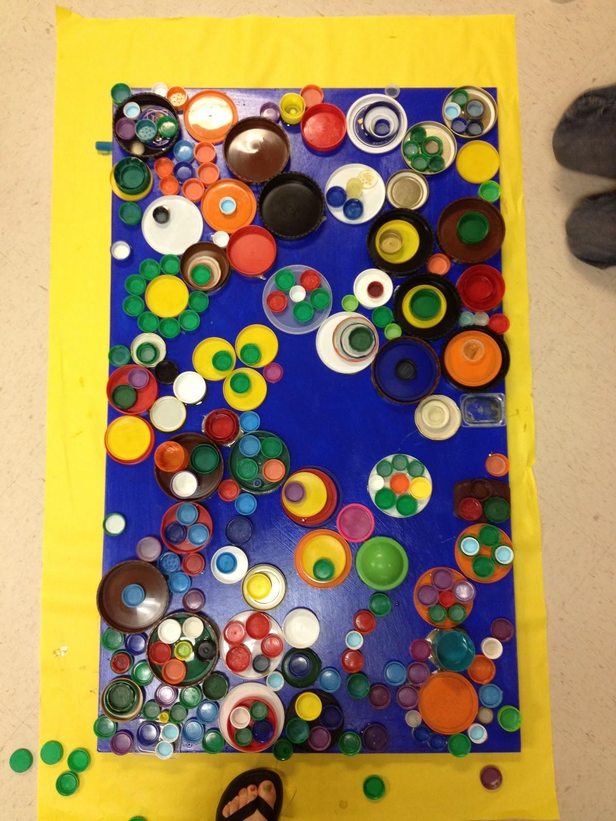 Candice Ashment Art: Reduce*reuse*recycle Bottle Lids Wall Art Inside Recycled Wall Art (Image 5 of 20)