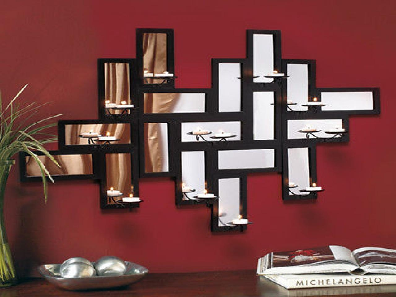 Candle Wall Art Decor, Contemporary Mirror Wall Art Modern With Regard To Modern Mirrored Wall Art (Image 6 of 20)