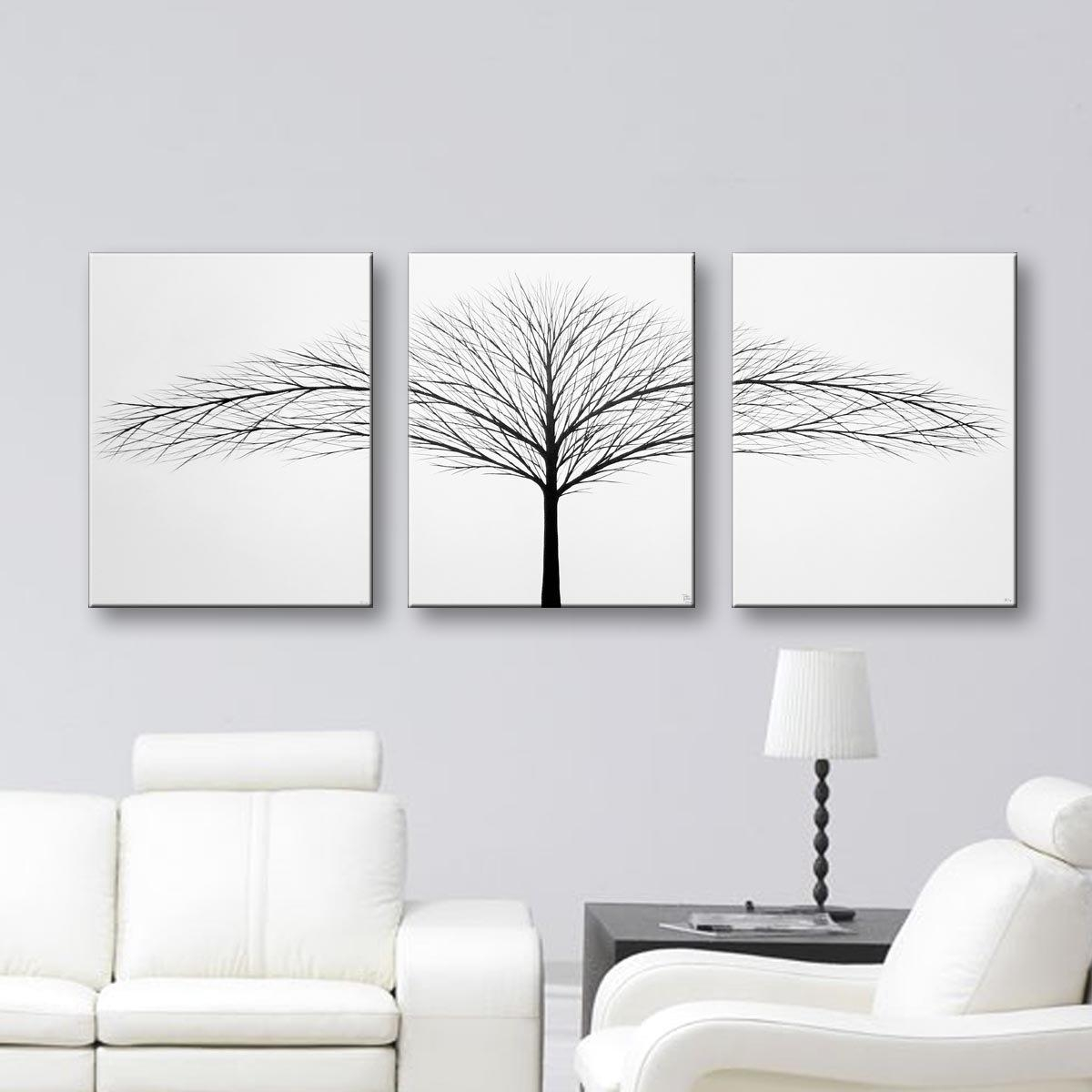 Canvas Art 3 Piece Wall Art Original Painting Home Decor Tree For Large Black And White Wall Art (Image 7 of 20)