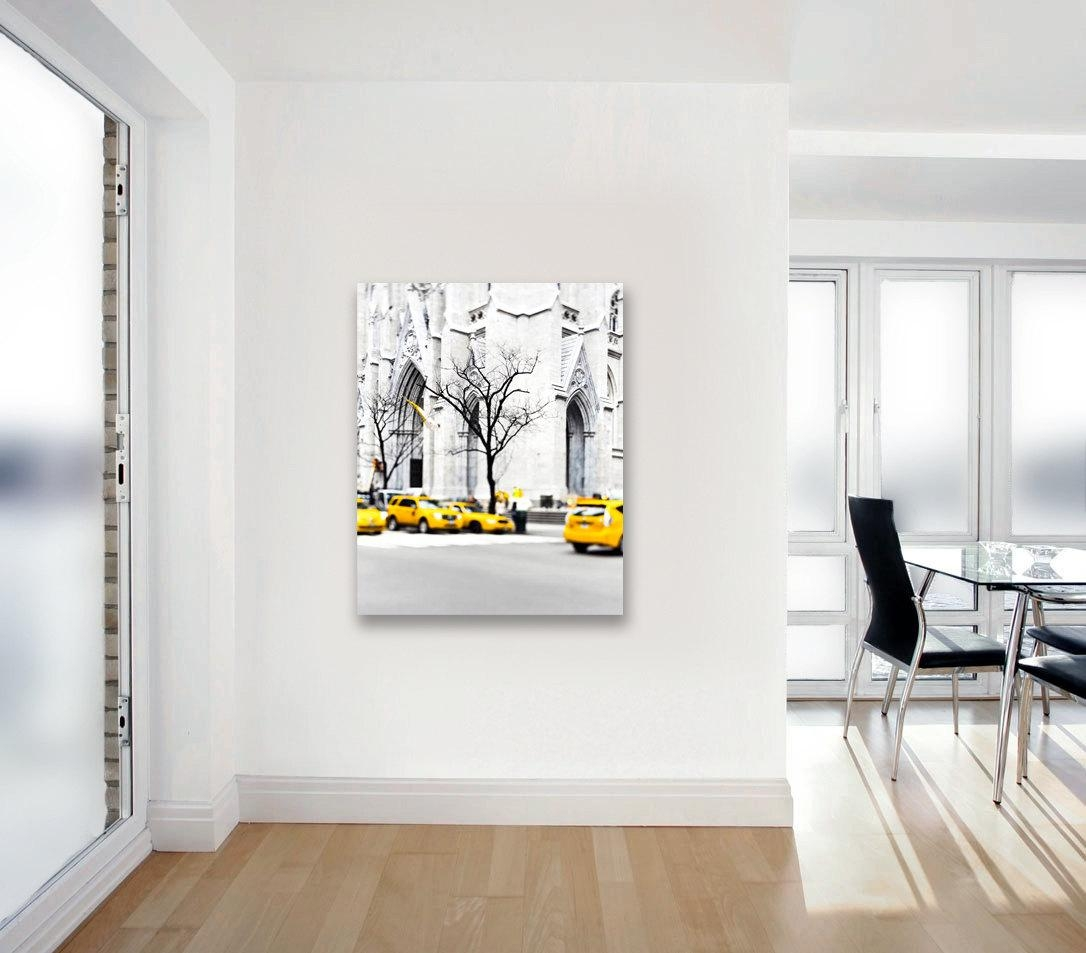 Canvas Art New York City Yellow Taxis Black And White New Throughout Large White Wall Art (Image 5 of 21)